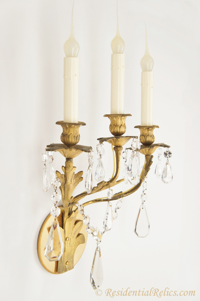 Pair of antique gilt bronze and crystal wall sconces, circa 1880s