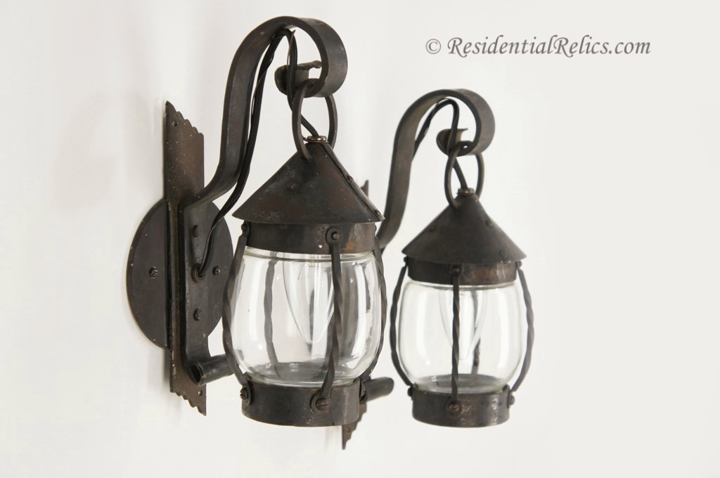 Pair hammered and riveted Arts and Crafts wall sconces circa 1920s & Pair antique hammered and riveted Arts and Crafts wall sconces ...