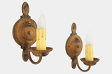 PAIR Moe Bridges cast iron polychrome wall sconces, circa 1920s