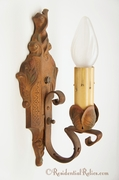 PAIR single-candle polychrome cast-iron wall sconces, circa 1920s