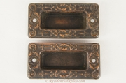 Pair of Victorian stamped brass recessed pulls, circa 1900