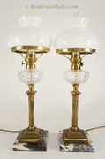 Pair French Rundbrenner gilt brass and cut glass lamps, circa 1880s