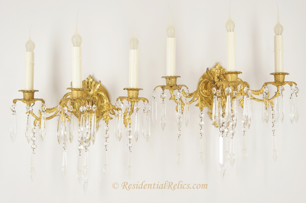 Wall Sconces For Candles With Crystals : Pair of antique gilt cast brass and crystal 3-candle wall sconces, circa 1890s