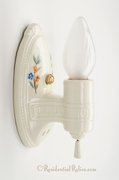 Pair hand-painted floral porcelain bath sconces, circa 1930s