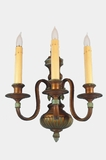 PAIR large polychrome over brass 3-candle wall sconces, circa 1910s