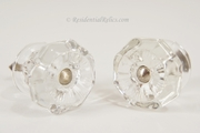 PAIR large pressed glass knobs, circa 1900s