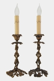 PAIR of cast brass candlestick lamps, circa 1910s