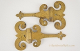 Pair of large cast brass fancy offset hinges, circa 1900s