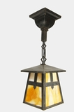 Pair of Mission pendant lights with slag glass shades, circa 1910s