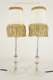 Pair of chrome and pressed glass table lamps, circa 1940s