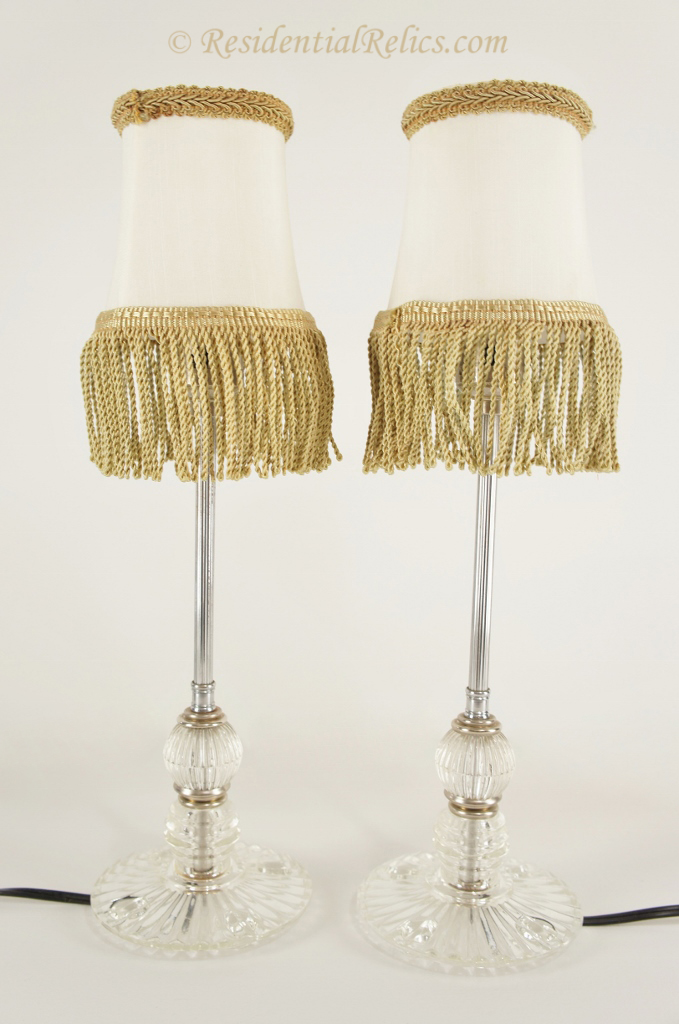 Pair of vintage chrome and pressed glass table lamps circa 1940s pair of chrome and pressed glass table lamps circa 1940s greentooth Choice Image