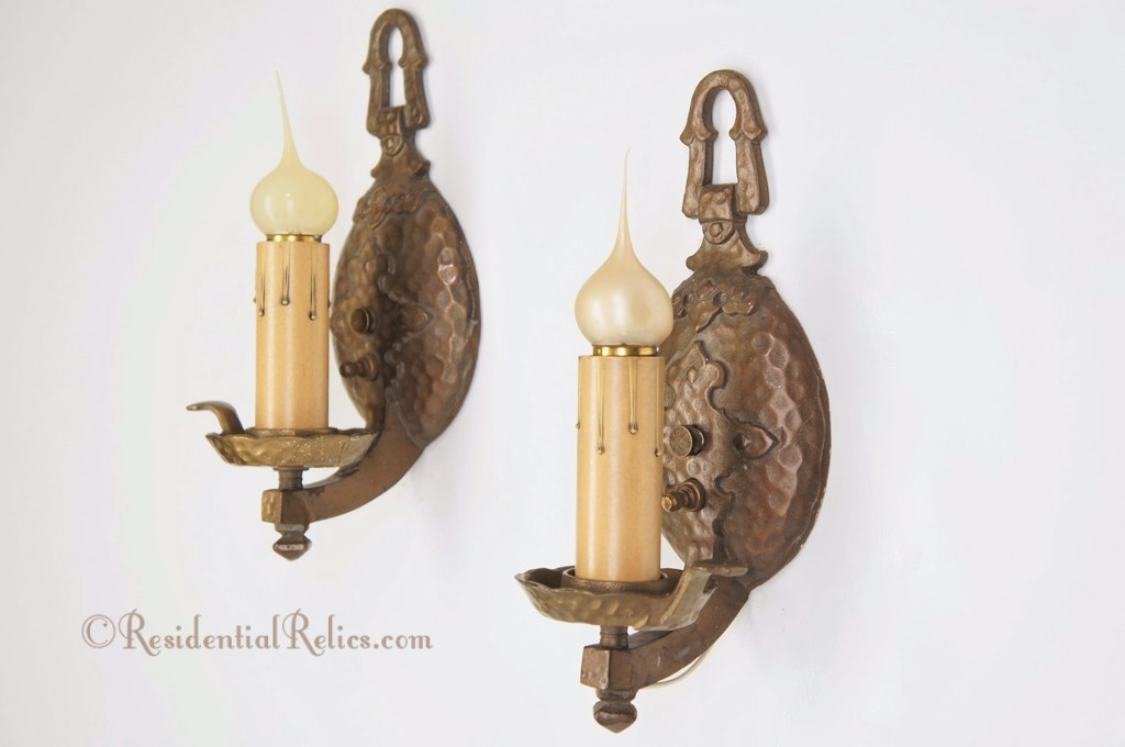 Pair Single Candle Vintage Cast Iron Hammered Wall Sconces Circa 1930s
