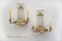 PAIR French cut crystal basket wall sconces, circa 1930s