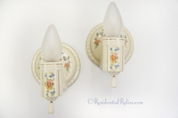 Pair porcelain ceramic bath sconces with stenciled floral decoration, circa 1930s (2 pairs available)