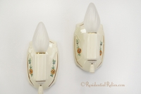 PAIR porcelain ceramic bath sconces with stenciled floral design, circa 1930s