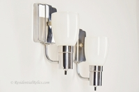 PAIR chrome bath sconces with white glass shades, circa 1950s