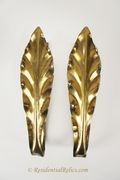 PAIR brass leaf curtain tie backs, circa 1940s