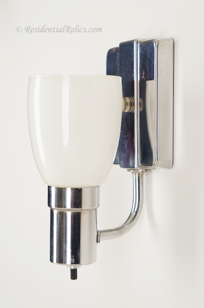 Pair vintage chrome bath sconces with white glass shades for Chrome bathroom sconce with shade