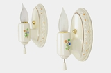 PAIR cream floral porcelain bath sconces, circa 1930s