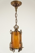 Pendant lantern with textured amber glass cylinder, circa 1920s