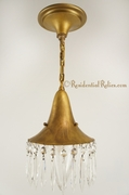 Petite French pendant with engraved glass globe and cut crystals, circa 1910s