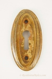 Rustic oval brass keyhole cover, circa 1920s (2 available)