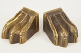 SET of 4 cast brass feathered paw feet, circa 1900