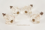 SET OF 4 large cut glass knobs with brass head bolts, circa 1900