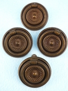 SET of 4 pressed brass plated drawer pulls, circa 1930s