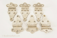 Set of 6 nickel-plated cast brass icebox hinges, circa 1900s