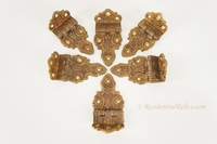 Set of 6 fancy cast brass icebox hinges, circa 1900s