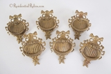 Set of 6 large cast brass wreath drawer pulls, circa 1900s