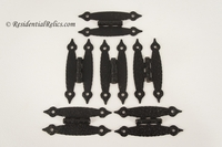 Set of 6 mid-century black hammered arrow hinges, circa 1950s