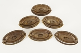 Set of 6 brass plated drawer pulls, circa 1930s