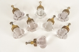 SET of 8 cut glass knobs, circa 1910s