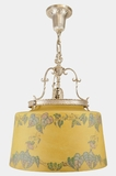 """<i><font color=""""#cc6600"""">Sold!</i></font color=""""#cc6600""""> Silver-plated chandelier with large stenciled morning glory shade, circa 1920s"""