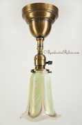 Small brass pendant light with Fostoria pulled feather shade, circa 1920s
