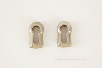 Small nickel plated keyhole cover, circa 1900 (2 available)
