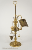 Small cast brass oil table lamp and toolset, circa 1930s