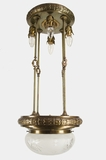 Tall embossed brass chandelier with inverted cut glass dome, circa 1910s