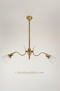 Victorian 2-light brass pendant fixture with acid-etched shades, circa 1900s