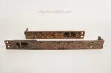 Victorian cast iron double door slide bolt set, circa 1880s