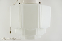 Ceramic ceiling light with milk glass Deco globe, circa 1930s
