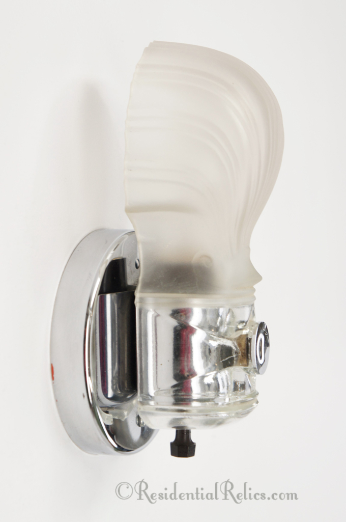 Chrome Plated Bath Sconce With Frosted Gl Shell Shade Circa 1930s