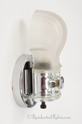Chrome plated bath sconce with frosted glass shell shade, circa 1930s
