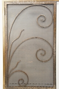 Deco wrought iron and brass fireplace screen, circa 1930s