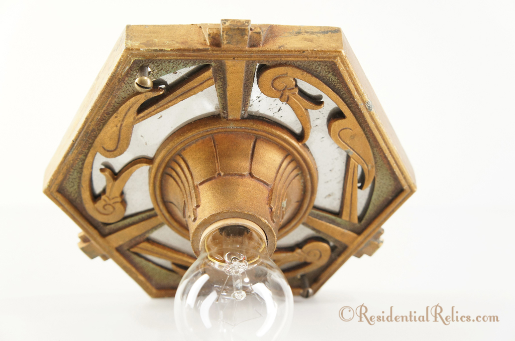 Gold And Green Painted Deco Flush Mount Ceiling Fixture Circa 1930s