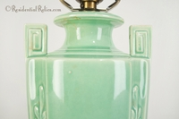 Green ceramic Deco table lamp, circa 1930s