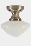 Nickel-plated ceiling fixture with white glass globe, circa 1930s