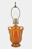 Orange brown pottery table lamp, circa 1930s